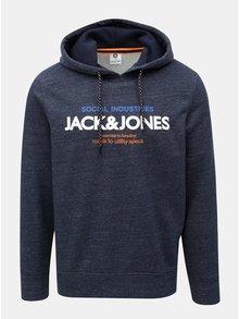 Hanorac albastru inchis melanj cu print Jack & Jones Jacob