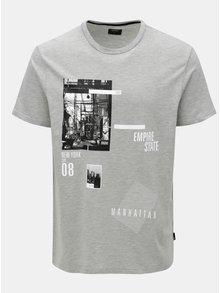 Sivé melírované tričko s potlačou Burton Menswear London e27212367d4