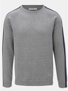 Sivý melírovaný sveter s pruhmi na rukávoch Jack & Jones Kreon