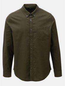 Tmavě zelená košile s náprsní kapsou a dlouhým rukávem Burton Menswear London
