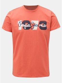 Tehlové pánske tričko s potlačou Pepe Jeans