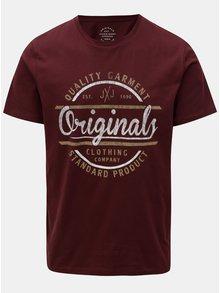 Vínové tričko s potlačou Jack & Jones Vinnie