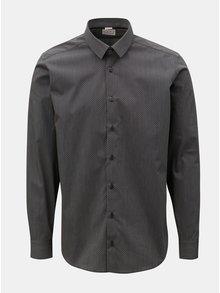 Tmavě šedá pánská košile s drobným vzorem a dlouhým rukávem VAVI