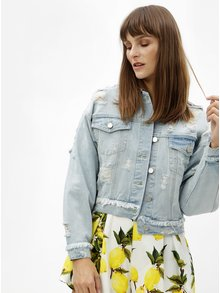 Světle modrá oversize džínová bunda s výšivkou a potrhaným efektem MISSGUIDED