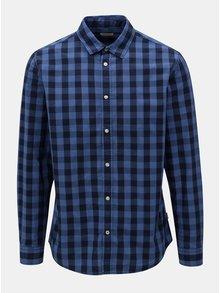 Modrá kockovaná košeľa s dlhým rukávom Jack & Jones Gingham