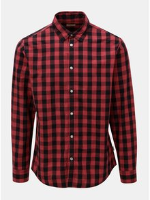 Čierno-červená kockovaná košeľa s dlhým rukávom Jack & Jones Gingham