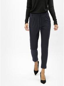Tmavě modré zkrácené kalhoty s vysokým pasem ONLY Poptrash
