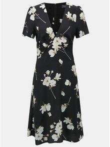 Čierne kvetované šaty s véčkovým výstrihom Dorothy Perkins Tall