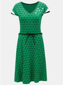 Zelené šaty s potiskem a odnímatelným páskem Mayda Red Baron