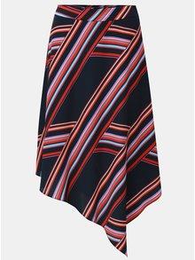 Červeno-modrá pruhovaná asymetrická sukně Dorothy Perkins