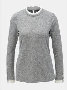 Sivý melírovaný tenký sveter s volánmi Dorothy Perkins
