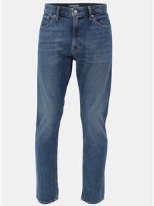 Modré pánske rifle s koženou nášivkou Calvin Klein Jeans