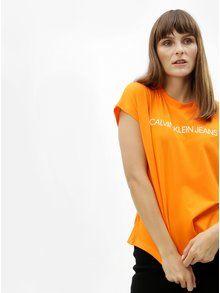 Oranžové dámske oversize tričko Calvin Klein Jeans