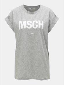 Sivé voľné melírované tričko s potlačou Moss Copenhagen Alva
