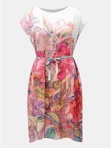 Bílo-růžové volné šaty s páskem na zavazování Mayda Kouzelný les