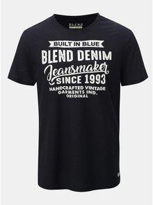 Tmavomodré regular melírované tričko Blend