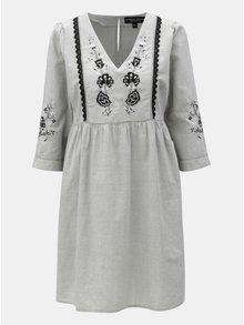 f0cf181dfb72 Sivé šaty s výšivkou a čipkovanými detailmi Dorothy Perkins