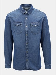 Camasa albastra slim fit  din denim Selected Homme