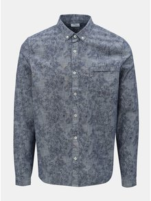 Camasa albastra cu model si buzunar la piept Burton Menswear London