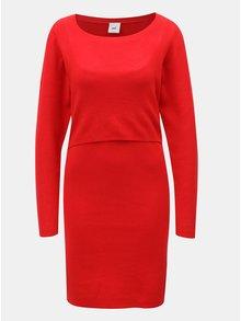 Červené pouzdrové těhotenské/kojicí šaty Mama.licious