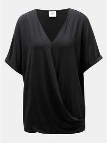 Černá těhotenská/kojicí halenka s překládanou přední částí Mama.licious