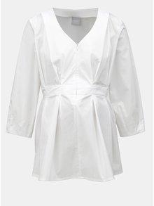 Bílá těhotenská/kojicí halenka se zipem v dekoltu Mama.licious