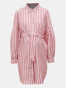 Rochie tunica alb-rosu in dungi pentru femei insarcinate si pentru alaptat Mama.licious