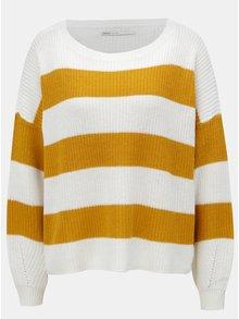 Hořčicovo-bílý pruhovaný svetr ONLY Campos