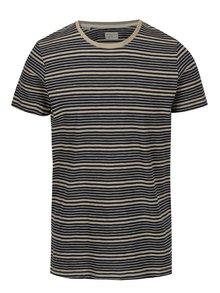 Modro-hnědé pruhované tričko Selected Homme Malthe