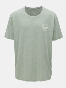 Tricou verde melanj cu print Jack & Jones Breeze Small