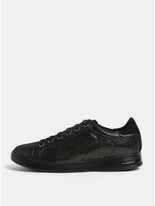 Čierne semišové tenisky s potlačou v zlatej farbe Geox Jaysen