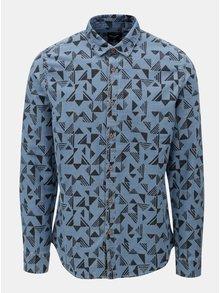 Camasa albastra slim fit din denim cu model ONLY & SONS