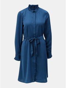 Petrolejové košilové šaty se stojáčkem a odnímatelným páskem VERO MODA Elizabeth