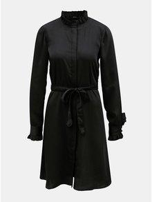 Černé košilové šaty se stojáčkem a odnímatelným páskem VERO MODA Elizabeth