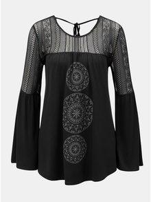 Černé tričko s průsvitným sedlem a rukávy Desigual