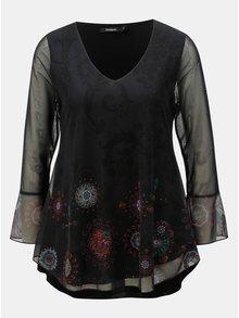 Bluza neagra cu maneci translucide si print de mandala Desigual