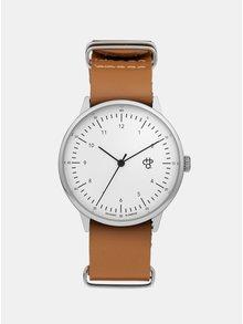 Unisex hodinky ve stříbrné barvě s hnědým koženým páskem CHPO Harold