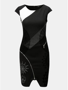 Černé pouzdrové vzorované šaty se zipy Desigual