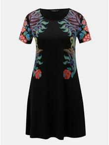 Černé šaty s potiskem a krátkým rukávem Desigual Mara