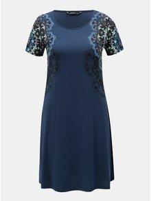 Tmavě modré šaty s potiskem a krátkým rukávem Desigual Cora
