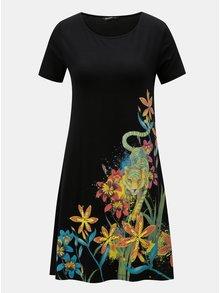 Černé šaty s tropickým potiskem a krátkým rukávem Desigual Agra