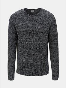 Tmavomodrý melírovaný sveter s okrúhlym výstrihom ONLY & SONS Sato