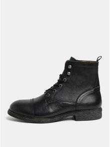Černé kožené kotníkové boty Selected Homme Therrel
