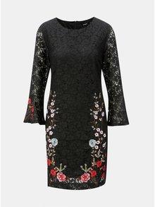 Černé krajkové šaty s výšivkou Desigual Vermond