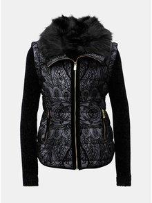 Černo-šedá vzorovaná bunda/vesta s kožíškem Desigual Alexandra