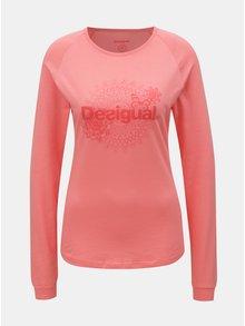 Tricou roz cu print si maneci lungi Desigual