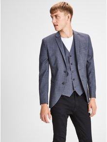 Šedé žíhané oblekové sako s příměsí vlny Jack & Jones Laris