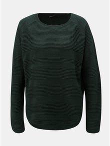 Tmavě zelený žebrovaný volný svetr ONLY Caviar