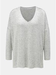 Světle šedý žíhaný oversize svetr s rozparky ONLY Kleo
