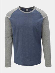 Šedo-modré pánské žíhané tričko s dlouhým rukávem Jack & Jones